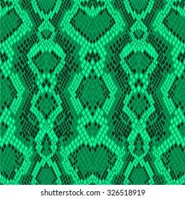 Bright seamless vector pattern green snakeskin
