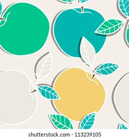 Bright seamless vector texture with apples