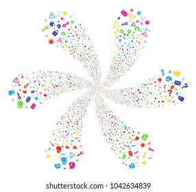 Bright Secrecy Symbols explosion motion. Suggestive flower with six petals composed from randomized secrecy symbols objects. Vector illustration style is flat iconic symbols.