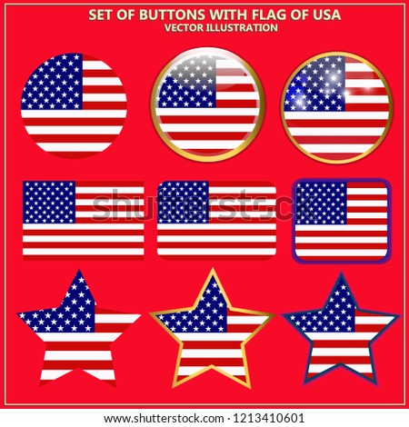 60b2fa4f4581 Bright set of banners with flag of America. Happy America day illustration.  Colorful illustration