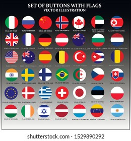 Bright set of banners with flags. Colorful illustration with flags of the world for web design. Vector illustration with grey background.