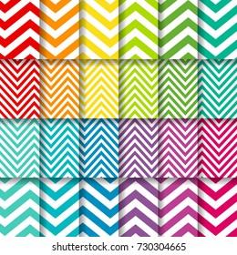 A bright set of chevron background pattern vectors