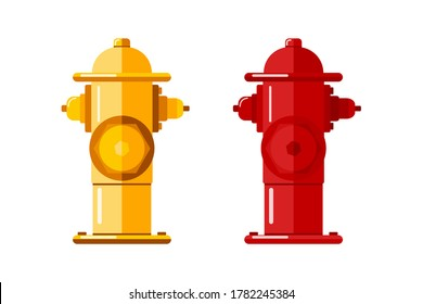 Bright set of fire hydrant icons, isolated on white background. Used by firefighters for extinguishing flames. Metal water pipe with nozzles for hose. Vector stock illustration in flat style.
