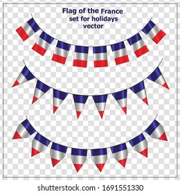 Bright set with flags France for holidays. Vector illustration with transparent background.