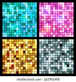 Bright set of shiny seamless mirror mosaic of square tiles of blue, pink, gold and silver glittering glass