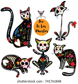 Bright  set with sugar skull black cats in mexican style. Set  for holiday the Day of the Dead, Dia de Muertos