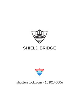Bright and shield logo design concept idea. vector icon illustration inspiration with eps10. simple and clean construction, building or landmark style logos.