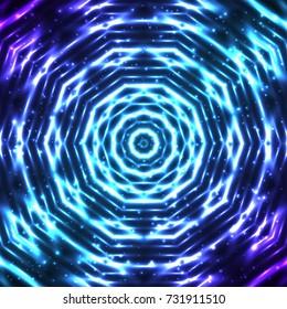 Bright and shining abstract snowflake background. Beautiful decorative cosmic mandala pattern. Glaring kaleidoscope wallpaper. Vector EPS10 file.