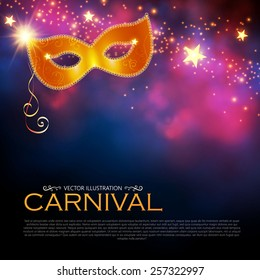 Bright shining carnival poster with mask. Vector illustration