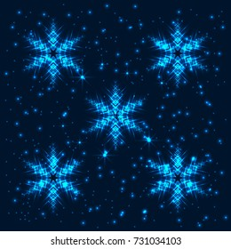 Bright, shining and glaring abstract background with 5 snowflakes. Beautiful decorative cosmic stars on dark background. Vector EPS10 file.