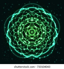 Bright, shining and glaring abstract mandala. Beautiful decorative cosmic background. Abstract glowing green flower. Vector EPS10 file.