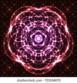 Bright, shining and glaring abstract mandala. Beautiful decorative cosmic background. Abstract glowing pink flower. Vector EPS10 file.