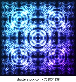 Bright, shining and glaring abstract pattern with circles. Beautiful decorative rounds on dark cosmic background. Vector EPS10 file.