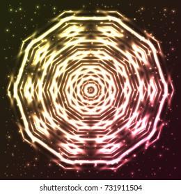 Bright, shining and glaring abstract snowflake. Beautiful decorative cosmic star on dark background. Cosmic mandala. Vector EPS10 file.
