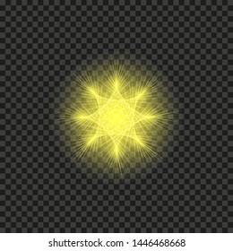 Bright shining star. Bursting explosion. Transparent effect