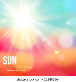 Bright shining sun with lens flare. Soft background with bokeh effect. Vector illustration.