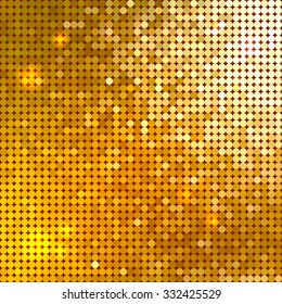 Bright shiny golden circle mosaic for festive holiday disco background