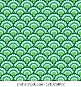 Bright snake skin scales squama background, vector seamless fabric pattern, tiled textile print. Traditional japanese squama scales seamless arc tiles motif. Roof pattern.