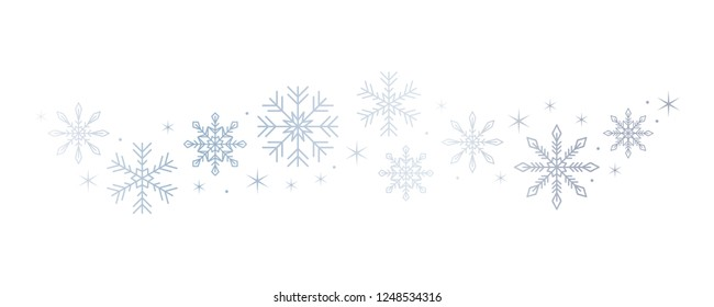 bright snowflakes and stars border isolated on white background vector illustration EPS10