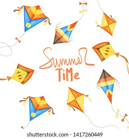 "Bright soaring kites and the inscription ""Summer time""."