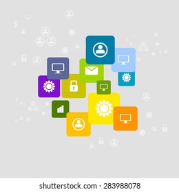 Bright social communication icons background. Vector corporate design
