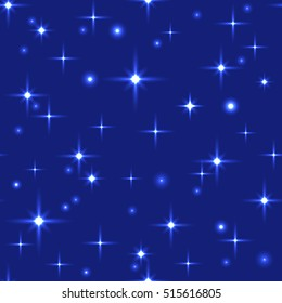 Bright space seamless pattern with sparkling stars on the dark blue background
