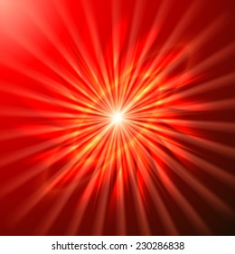 Bright space star in bright red and burnt red hues