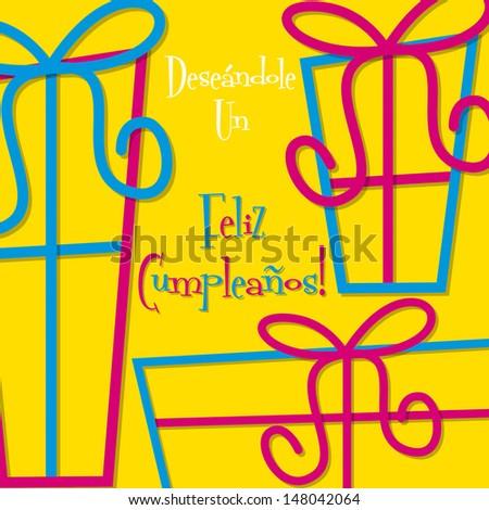 Bright Spanish Happy Birthday Card In Vector