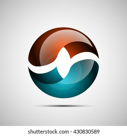 Bright sphere. shape illustration icon. Endless band logo. Round badge. The Mobius strip circle