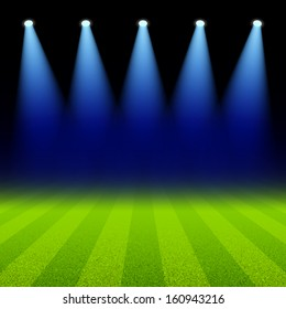 Bright spotlights illuminated green soccer field. Vector.