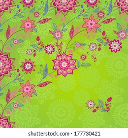 Bright spring pattern with flowers and leaves. Place for your text. Ornamental wallpaper.  It can be used for decorating of wedding invitations, greeting cards, decoration for bags and clothes.