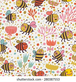 Bright spring seamless pattern. Lovely bees and flowers. Seamless pattern can be used for wallpaper, pattern fills, web page backgrounds, surface textures. Gorgeous seamless floral background