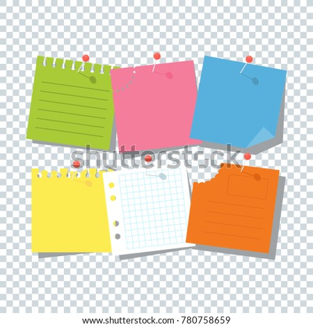 Bright Square Colored Sheets Paper Notice Stock Vector (Royalty Free ...