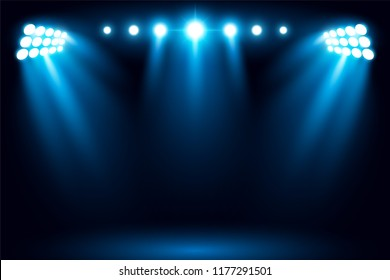 Bright stadium arena lighting spotlight vector illustration