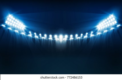 Bright stadium arena lights vector design. Vector illumination