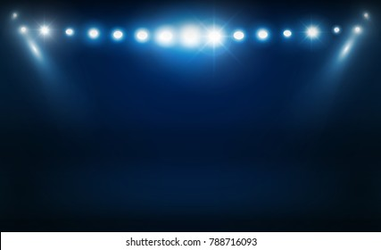 Bright stadium arena lights vector design. Vector illumination