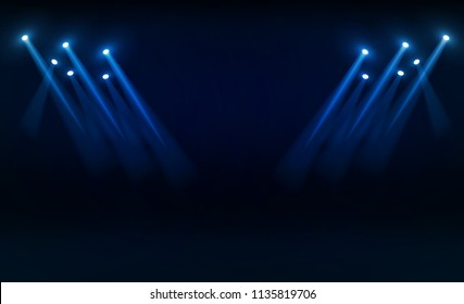 Bright stadium lights vector design. illumination
