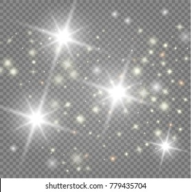The bright star on transparent background. Vector Illustration