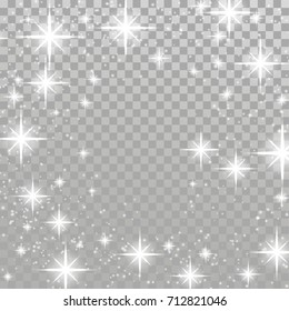 Bright star twinkle glow shimmering frame layout checkered background. Silver twinkling sparkling beautiful abstract overlay light effect template isolated. Vector illustration