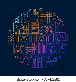 Bright statistics illustration - vector data analysis with graphs and diagrams. Statistics background or logo