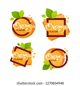 bright  sticker, emblem and logo for orange citrus fruit  fresh juice flavor