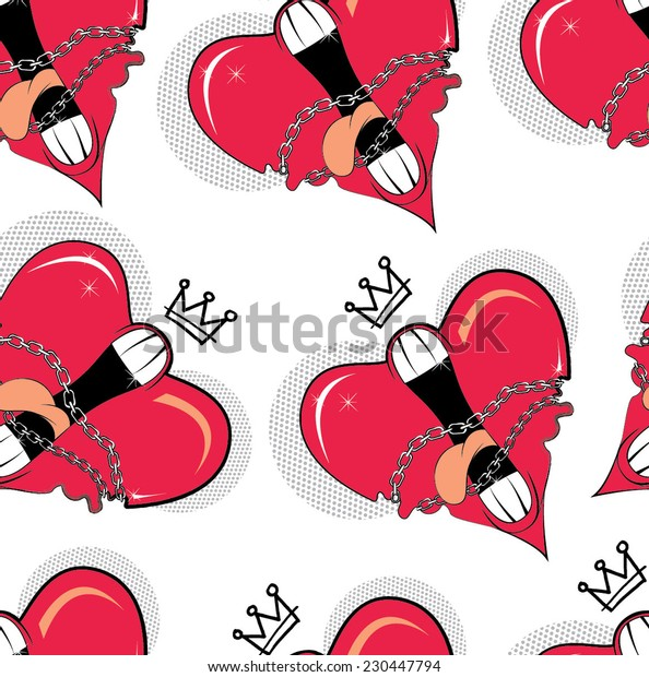 bright and stylish pattern print with funny hearts