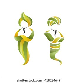 Bright Stylish Trendy 3d Vector illustration of two genies. Jinn Graphic Symbol Represents  Miracle, Magic, Spirit, Fulfillment of Desires and Dreams, Ingenuity, Skill, Competence etc.