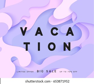 Bright summer background in the style of paper vague paint. Summer poster