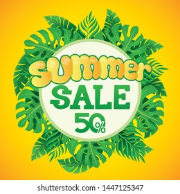 Bright summer banner for sales with tropical leaves.