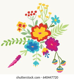 Bright summer bouquet. Nature flowers embroidery patch vector decoration.