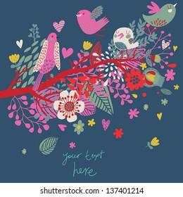 Bright summer card in vector. Cute cartoon birds in flowers on branch. Stylish invitation card
