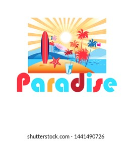 Bright summer color landscape with palm trees and beach on a sunny background. Icon advertising tourism and travel to tropical islands.