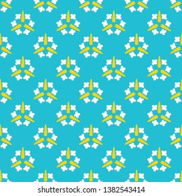 Bright summer daisy flower bloom seamless vector pattern. Stylized geometric floral all over print. Pretty 1950s retro feminine fashion style. Trendy scrapbook paper, wallpaper, fresh garden backdrop.