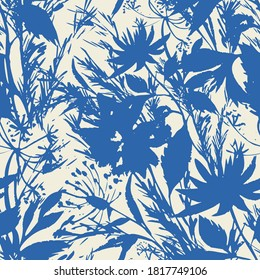 Bright summer floral background. Silhouettes of garden flowers in bloom mixed with herbs, leaves and meadow plants. Trendy modern style. Flat design. Good for fabric and textile, any coverage.